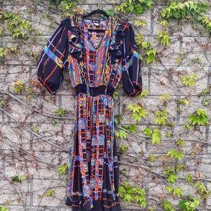 VTG Diane Fries Silk Maxi Dress